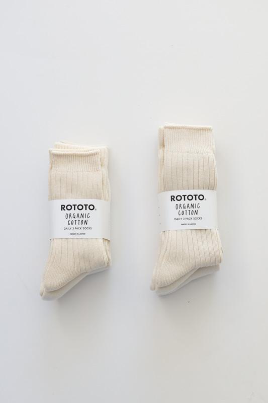 RoToTo   ORGANIC COTTON DAILY 3 PACK CREW SOCKS